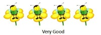 four yellow flowers with bee reading on each
